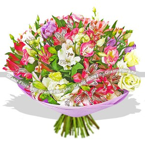 Montpensier - bouquet of alstroemeria and eustomy