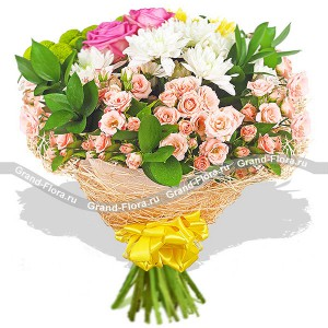 Pearl of Love - a bouquet of roses and chrysanthemums