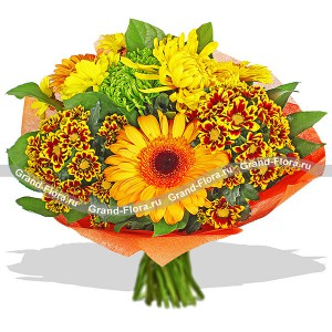 expression of triumph - a bouquet of roses, chrysanthemums and gerberas