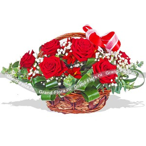 Scarlet Sails - a basket of red roses, alstroemeria and baby's breath