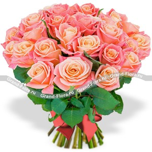 Bouquet of peach roses - Miss Piggy