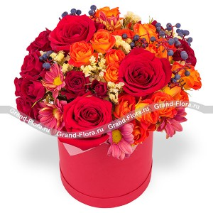 Velvet - hat box with red roses