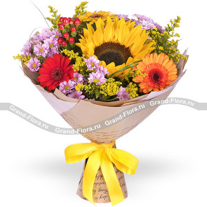 Reverence - bouquet of gerberas and chrysanthemums