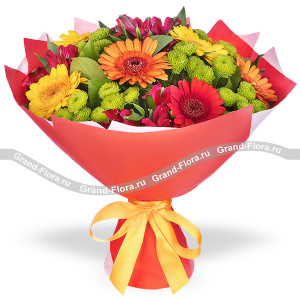 Autumn joy - a bouquet of red carnations and chrysanthemums
